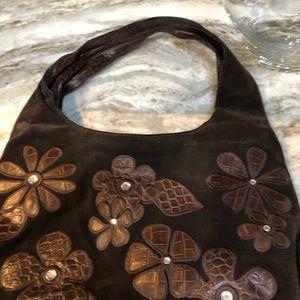 Donald Pilner brown suede shoulder bag
